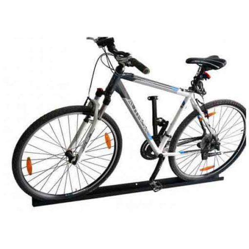Vienos vietos dviračių laikiklis horizontaliam dviračio laikymui ant bėgio iš cinkuoto, dažyto plieno baltame fone