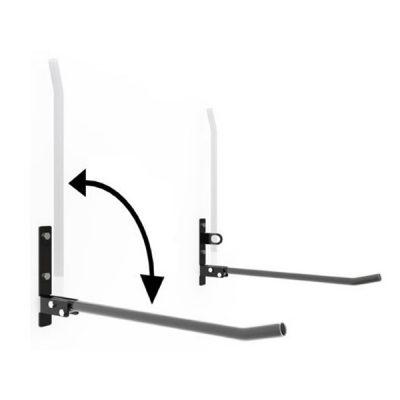Dvivietis dviračių laikiklis horizontaliam dviračių laikymui iš cinkuoto plieno profilio su apsaugine guma baltame fone