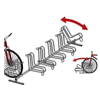 Penkiavietis cinkuotas L formos dviračių stovas su abipusio statymo galimybe baltame fone