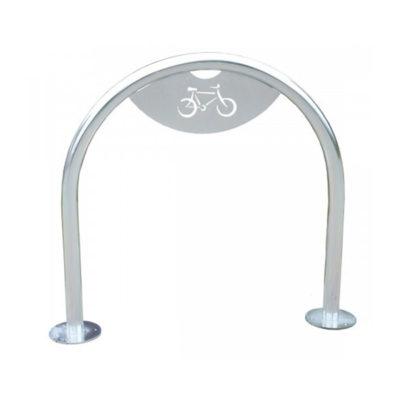 Cinkuotas dvivietis dviračių stovas su dviračio logotipu baltame fone
