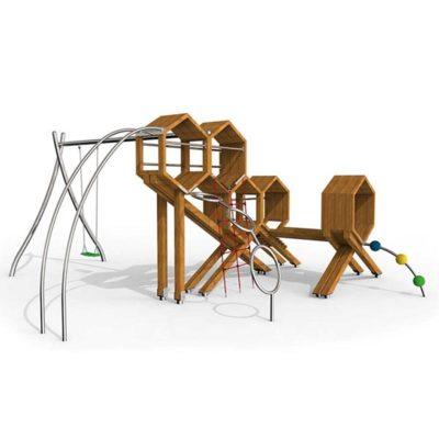 Žaidimų kompleksasiš nerūdijančio plieno V2A, maumedžio medienos ir EPDM kaučiuko baltame fone