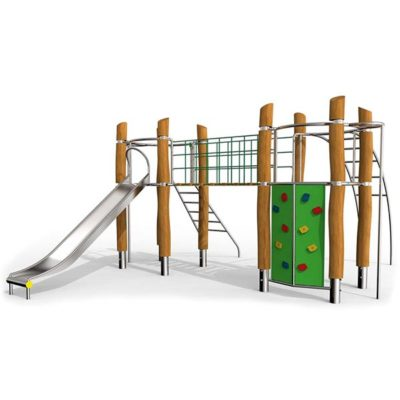 Žaidimų kompleksassu alpinizmo sienele iš nerūdijančio plieno V2A, akacijos medienos ir HPL laminato baltame fone