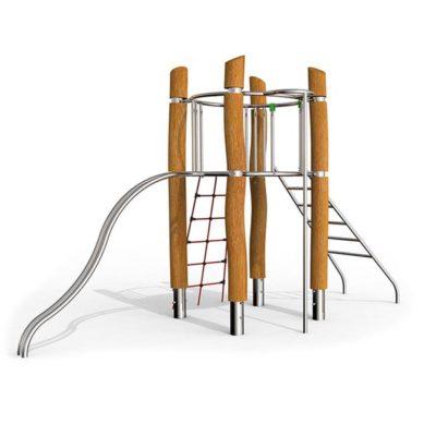 Žaidimų kompleksasiš nerūdijančio plieno V2A ir akacijos medienos baltame fone