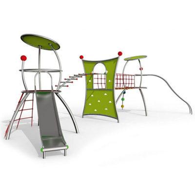 Žaidimų kompleksassu čiuožykla ir laipiojimo sienele iš nerūdijančio plieno V2A, EPDM kaučiuko ir HPL laminato baltame fone