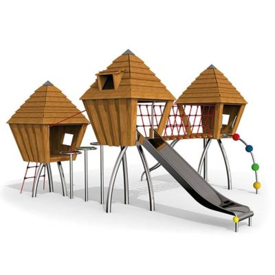 Žaidimų kompleksas pagamintas iš nerūdijančio plieno V2A ir akacijos medienos baltame fone
