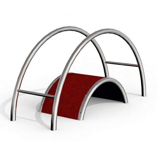 Lauko treniruoklis-suolelis iš nerūdijančio plieno V2A skirtas pilvo presui, juosmens šoniniams ir nugaros raumenims stiprinti baltame fone