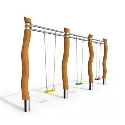 Švytuoklinės lauko supynės iš nerūdijančio plieno V2A, akacijos medienos ir EPDM kaučiuko, sutvirtinto plienu, skirtos trims vaikams suptis baltame fone