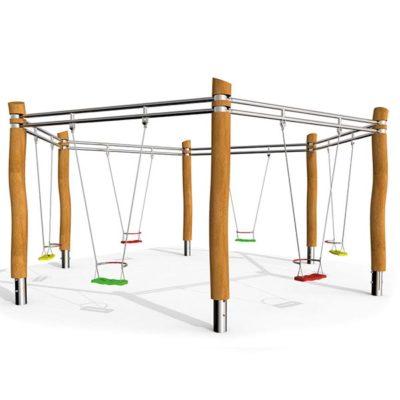 Švytuoklinės lauko supynės iš nerūdijančio plieno V2A, akacijos medienos ir EPDM kaučiuko, sutvirtinto plienu, skirtos šešiems vaikams suptis baltame fone