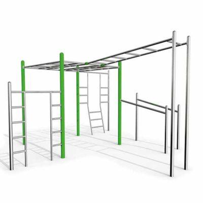Lauko gimnastikos įrenginys iš nerūdijančio plieno V2A baltame fone