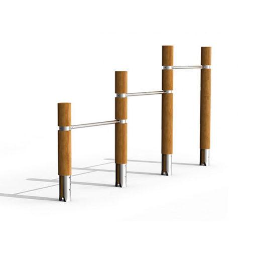 Lauko skersinis iš nerūdijančio plieno V2A ir akacijos medienos baltame fone