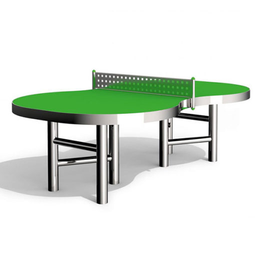 Lauko teniso stalasiš nerūdijančio plieno V2A ir HPL laminato baltame fone