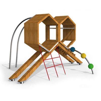 Žaidimų kompleksasiš nerūdijančio plieno V2A, maumedžio medienos ir EPDM kaučiukobaltame fone