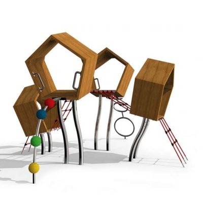 Žaidimų kompleksas pagamintas iš nerūdijančio plieno V2A, maumedžio medienos ir EPDM kaučiuko baltame fone