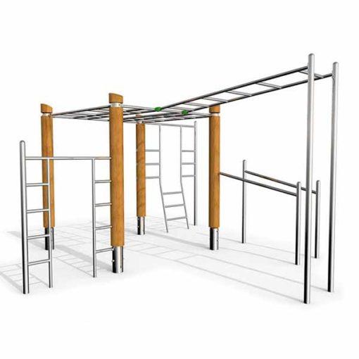 Lauko gimnastikos įrenginys iš nerūdijančio plieno V2A ir akacijos medienos skirtas visiems kūno raumenims stiprinti baltame fone