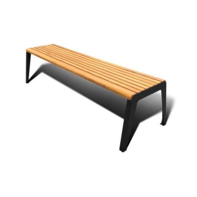 Lauko suoliukas be atlošu iš plieno ir juodalksnio medienos baltame fone