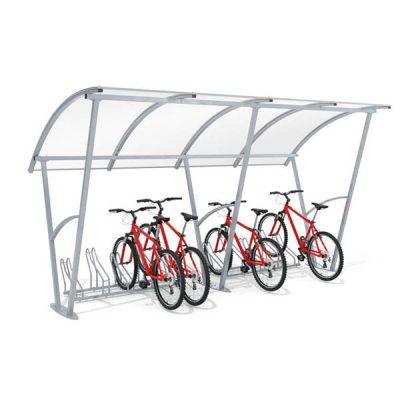 10-ies vietų dviračių stoginė iš cinkuoto/dažyto/nerūdijančio plieno ir polikarbonato su pavaizduotais dviračiais stoginėje baltame fone