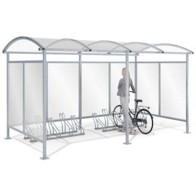 10 - ies vietų dviračių stoginė su sienelėm iš plieno ir polikarbonato baltame fone