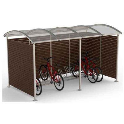 10-ies vietų dviračių stoginė iš plieno, polikarbonato ir medienos lentų baltame fone