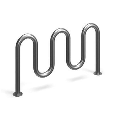 Originalios formos cinkuotas dviračių stovas baltame fone