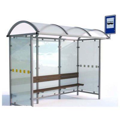 Autobusų laukimo stotelė pagaminta iš plieno, polikarbonato ir grūdinto stiklo. baltame fone
