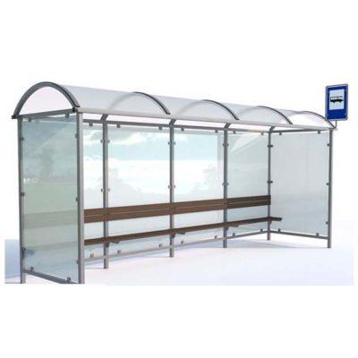 Autobusų laukimo stotelė pagaminta iš plieno, polikarbonato ir grūdinto stiklo baltame fone