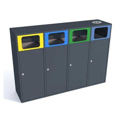Keturių dalių atliekų rūšiavimo šiukšliadėžė su pelenine pagaminta iš plieno baltame fone