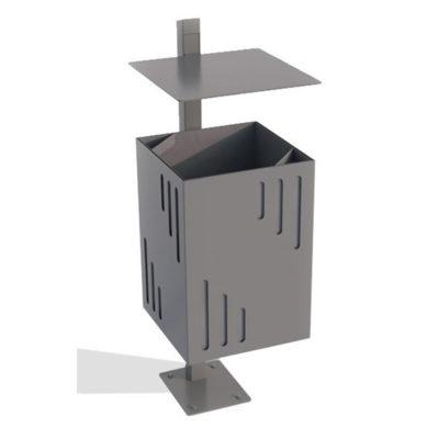 Stačiakampio formos plieninė šiukšliadėžė su stogeliu baltame fone