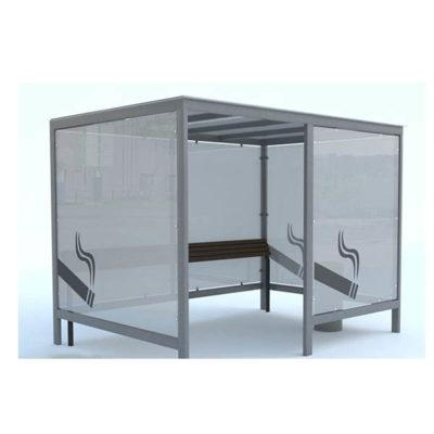 Lauko rūkymo patalpa iš plieno ir grūdinto stiklo baltame fone