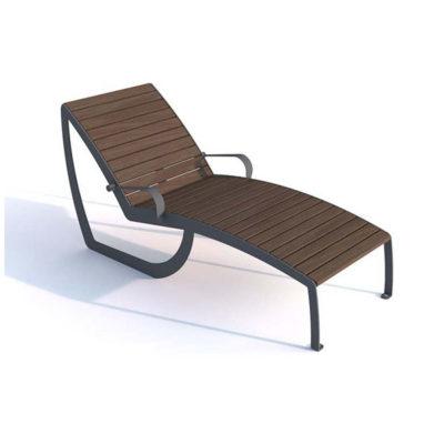 Lauko gultas pagamintas iš plieno ir impregnuotos eglės medienos lentų baltame fone