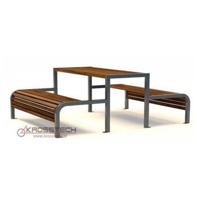Pikniko stalas su kėdėmis iš plieno ir impregnuotos spygliuočio medienos baltame fone