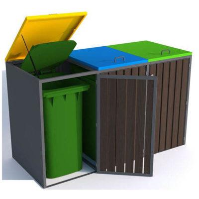 Trijų dalių saugykla atliekų konteineriams iš plieno ir medienos baltame fone