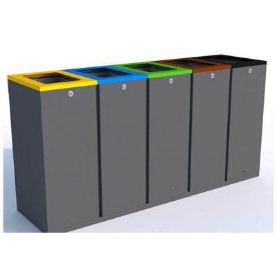 Penkių dalių atliekų rūšiavimo šiukšliadėžė pagaminta iš plieno baltame fone
