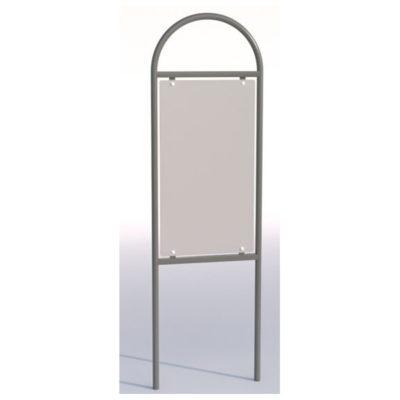 Informacinis stendas iš plieno ir aliuminio kompozito baltame fone