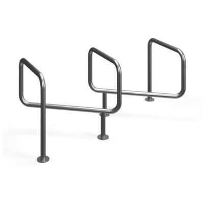 Originalus zigzago formos šešiavietis dviračių stovas baltame fone
