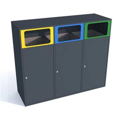 Trijų dalių atliekų rūšiavimo šiukšliadėžė pagaminta iš plieno baltame fone