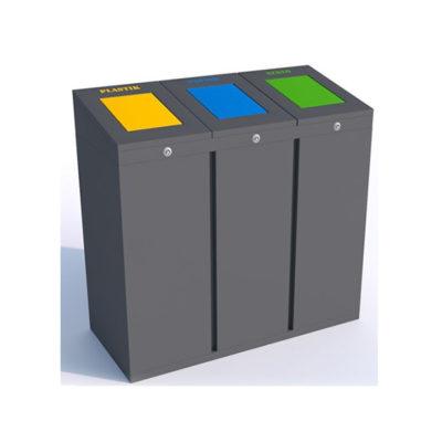 Trijų dalių atliekų rūšiavimo šiukšliadėžė su uždengimu pagaminta iš plieno baltame fone