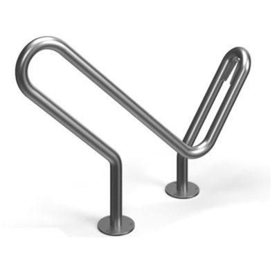 Cinkuotas dviračių stovas su galimybe rakinti rėmą baltame fone