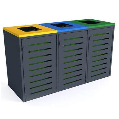 Trijų dalių saugykla atliekų konteineriams iš plieno baltame fone