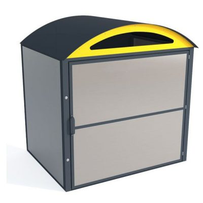 Atliekų konteinerio saugykla iš cinkuoto, dažyto arba iš nerūdijančio plieno baltame fone