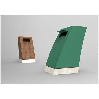 Modernaus dizaino plieninė šiukšliadėžė su betoniniu padu baltame fone
