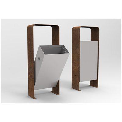 Modernaus dizaino plieninė šiukšliadėžė baltame fone