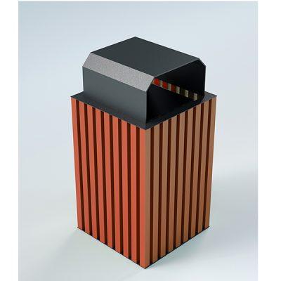 Modernaus dizaino plieninė šiukšliadėžė su stogeliu baltame fone
