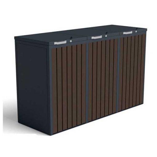 Trijų dalių rakinama atliekų konteinerių saugykla iš plieno ir spygliuočio medienos baltame fone