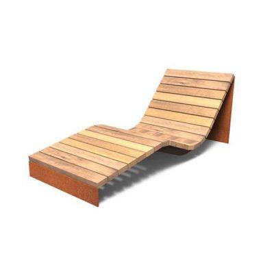 poilsio suoliukas-gultas iš corten plieno ir kietmedžio medienos baltame fone