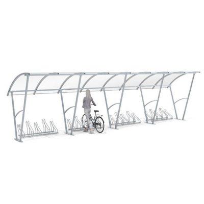 20 - ies vietų dviračių stoginė iš plieno ir polikarbonato baltame fone