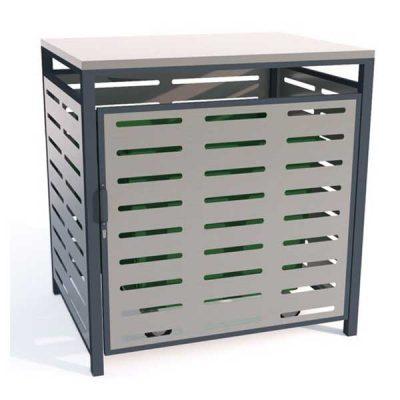Universalaus atliekų konteinerio saugykla pagaminta iš cinkuoto, dažyto arba nerūdijančio plieno baltame fone