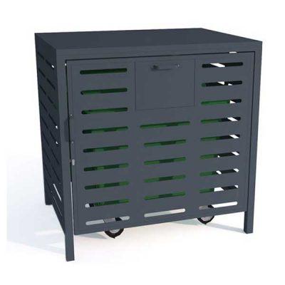 Saugykla universaliam atliekų konteineriui pagaminta iš cinkuoto, dažyto arba iš nerūdijančio plieno baltame fone