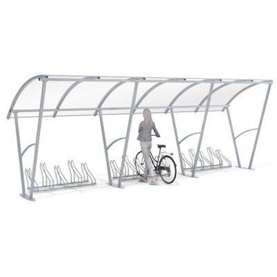 15-os vietų dviračių stoginė iš plieno ir polikarbonato baltame fone