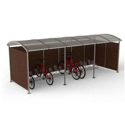 15-os vietų dviračių stoginė iš plieno, polikarbonato ir medienos lentų baltame fone