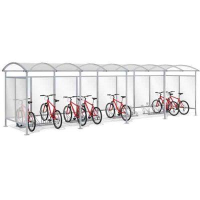 20 - ies vietų dviračių stoginė su sienelėm iš plieno ir polikarbonato baltame fone